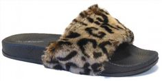 14.25$  Buy now - http://vionu.justgood.pw/vig/item.php?t=jalyewz24600 - New Womens Flats Sandals Leopard Faux Fur Slide Shoes Free Shipping by Forever