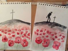Example for series of year 5 or 6 art lessons. Silhouettes drawn using pencils and graphite sticks. Watercolour wash with more detailed watercolour poppies in foreground. Remembrance Day Activities, Remembrance Day Poppy, Ww1 Art, Poppy Craft, Watercolor Poppies, School Displays, Anzac Day, Veterans Day, Art Club