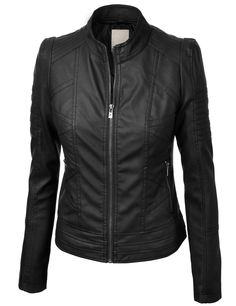 LL Womens Vegan Leather Motorcycle Jacket L BLACK                                                                                                                                                                                 More