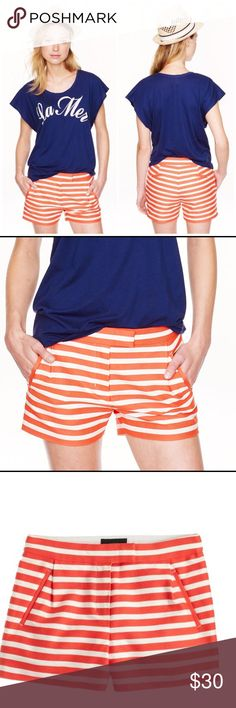 J. Crew orange and white striped textured shorts Perfect to brighten up any summer day. Orange and white striped shorts. Size 00. 93% cotton 7% nylon. Looks adorable with navy or obviously white. Add some Cute wedges or sandals! J. Crew Shorts