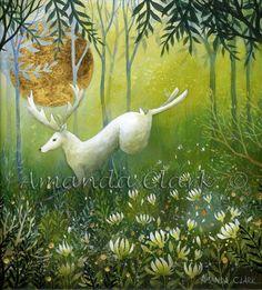 White Stag in Woodland  -  Amanda Clark- art gallery, original paintings
