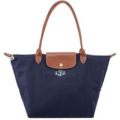 Longchamp Le Pliage Large Monogram Shoulder Tote Bag (€135) ❤ liked on Polyvore featuring bags, handbags, tote bags, new navy, white leather tote bag, foldable tote, leather totes, purse pouch and monogram tote