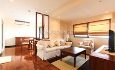 1-Bedroom Condo for Rent at Casa Viva  - This 1-bedroom condo for rent at Casa Viva is a classy 90 square meter dwelling with wooden fixtures. No frills furniture in neutral hues adorn the living room such as sofa, armchairs, and flat screen TV on a chest. A smart and chic built-in divider separates it from the sunny dining area...  To find out more of this rental and other places, go to: http://HomeConnectThailand.com/bangkok-condos-for-rent/