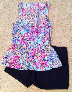 Lilly Pulitzer top and navy shorts - love the colors and pattern of the top