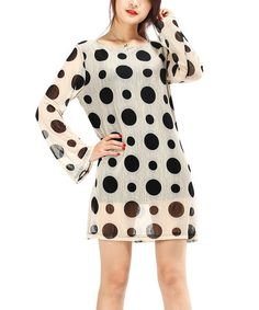 Another great find on #zulily! Off White & Black Polka Dot Shift Dress #zulilyfinds