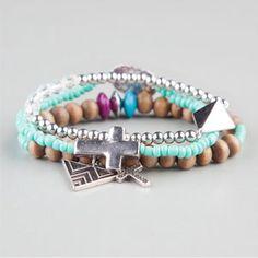 FULL TILT 3 Piece Beaded Chevron Charm Bracelets 7.99
