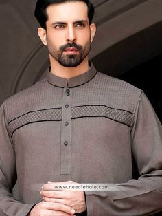 Menswear #kurta salwar suit in cinereous color. Embroidered front beautiful…