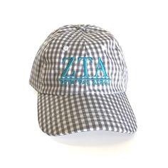 Zeta Tau Alpha Gingham Baseball Hat. www.sassysorority.com.  zta  zeta   gingham  monogram  bidday  sassysorority  baseballhat. Sorority Livin 1ad45c19f34b
