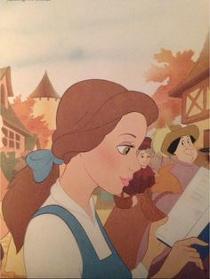 Belle reading her book in the village
