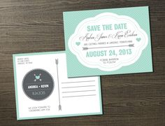 Wedding Invitation, Save the Date, Postcard, Mint Green Hearts & Arrows