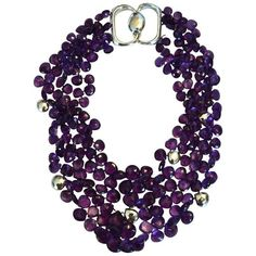 Preowned Patricia Von Musulin Amethyst And Sterling Silver Petal... (8.015 RON) ❤ liked on Polyvore featuring jewelry, necklaces, purple, pre owned jewelry, amethyst jewellery, amethyst necklace, patricia von musulin jewelry and purple amethyst necklace