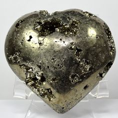 3.2' Golden Pyrite Puffy Heart Sparkling Druzy Crystal Natural Polished Mineral Love Stone Heart - Peru   Acrylic Display Stand -- Want additional info? Click on the image. (This is an affiliate link) #IndoorFountainsandAccessories