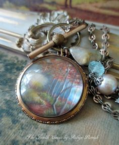 AUTUMN TRAIL vintage assemblage necklace hand by TheFrenchCircus