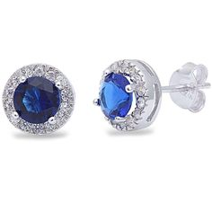 Halo Stud Post Earring Solid 925 Sterling Silver 0.66CT Round Cut Deep Blue Sapphire CZ Round Russian CZ Wedding Gift September Birthstone
