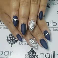 Dark navy and rhinestone nailart #nailart @Jenniferw