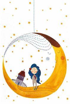 RAGYOG A MINDENSÉG, Gutenberg Kiadó, 2013 - Kinek talál a neve? #illustration #moon #coffee