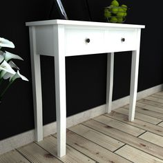 Only US$75.38, White Dressing Console Table with Two Drawers - LovDock.com