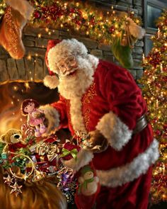 Father Christmas looks happy in his work Christmas Scenes, Christmas Past, Father Christmas, Christmas Pictures, Winter Christmas, Magical Christmas, Xmas Holidays, Christmas Pillow, Christmas Wishes