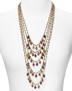 "Five Row Multi Beaded Drama Necklace, 34.5"" long"