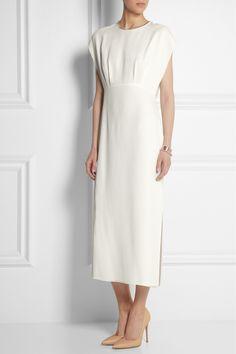 Adam Lippes|Embellished chiffon-paneled silk midi dress|NET-A-PORTER.COM