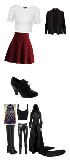 """""""Black"""" by hermioneisbroken ❤ liked on Polyvore featuring Ted Baker, Chicwish, Topshop, Les Chiffoniers, Sergio Rossi and Miu Miu"""