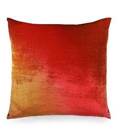 Ombre Gradient Velvet Pillow - Sunburst
