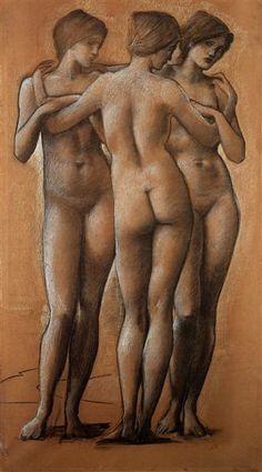 The Three Graces - Burne-Jones Edward Style: Symbolism Genre: mythological painting
