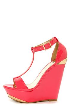 Check it out from Lulus.com! Hot pink patent is a treasure unto itself, but hot pink and gold? That's