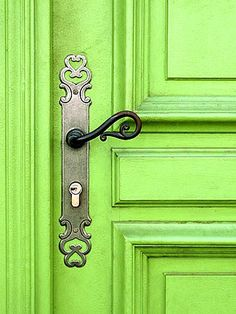 bright green door with decorative hardware, pantone green flash, lime green