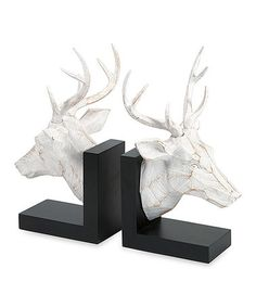 #zulily! Black & White Deer Bookend - I could use my deer to make bookends for the mantel.