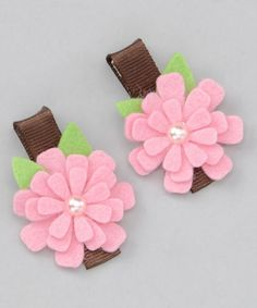 Take a look at this Pink & Brown Flower Clip - Set of Two by Pink Poseys Bowtique on #zulily today!