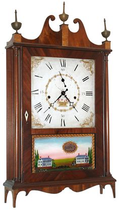 Seth Thomas Clock Co., Plymouth, Conn., 30 hour, time and strike, weight wood movement off-center pillar and scroll shelf clock. c1822