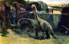 Brachiosaurus Zdenek Burian HD Wallpaper Desktop Background