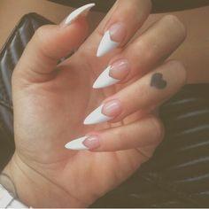 White V French Tip Stiletto Nail Design