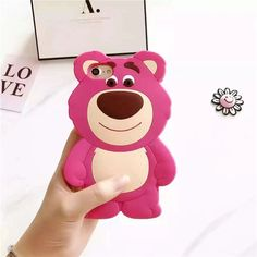 2017 New Cute Cartoon Strawberry Bear 3D Soft Silicone Cases for iPhone 7 7plus 6 6s 6plus 6splus Back Cover Fundas Capa