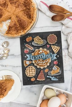 Happy Pie Season - Print // Fall Chalk Art Kitchen Print.  Fall Pie Decor