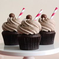 Chocolate malt cupcakes, I love the paper straw as a topper.