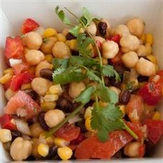 Mexican Bean Salad. Cilantro, lime juice, honey. Makes a great summer salad.