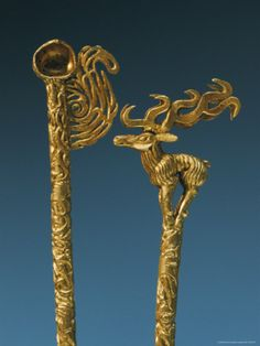 Two Gold Headdress Pins Recovered from a Royal Scythian Tomb, 7th century B.C.