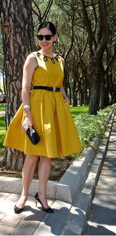 Susana Fernandez | A Key to the Armoire <Kate Spade + black + mustard yellow dress + Ralph Lauren + ladylike style + classic style + southern style + chic style + full skirted dress>