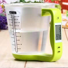 Digital Cup Scale Electronic Measuring Household Jug Scales with LCD Display & Temp Measurement Measuring cups Cooking Tools Electronic Kitchen Scales, Kitchen Electronics, Electronic Scale, Digital Kitchen Scales, Kitchen Gadgets, Kitchen Tools, Kitchen Ideas, Kitchen Kit, Kitchen Updates