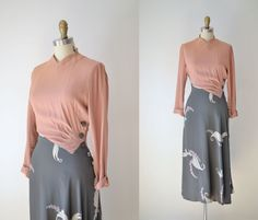 1930s Novelty Print Dress / 30s Rayon Dress / Pink and Gray Angel Print. $300.00, via Etsy.