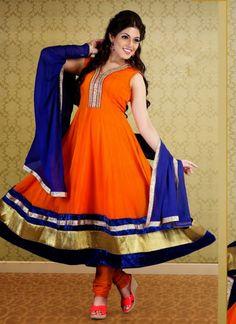 Orange Faux Georgette Party Wear Churidar Suit Shop now : http://www.cfashionbazaar.com/