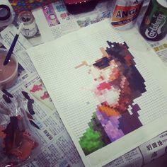 JOKER PIXEL ART #INprogress #Pixel #Art #Joker      Welcome Follow Me :D https://www.instagram.com/bobbiwa/