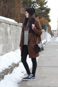 Dress Like Jess: Oversized Coat  www.dresslikejess.us/2015/02/oversized-coat.html  Zara oversized brown coat with knit lapel, @abercrombie1892 sweater, @pacsun bullhead skinny jeans, @vans sk8-hi slim sneakers, @forever21 black satchel + beanie