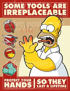 SafetyPoster.com - Hand Safety Posters - Simpsons Hand Safety S1121 - www.SafetyPoster.com