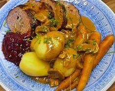 Köttfärslimpa med champinjonsås Dinner Recipes, Dessert Recipes, Swedish Recipes, Comfort Food, Something Sweet, Pot Roast, Food Inspiration, Baked Potato, Good Food
