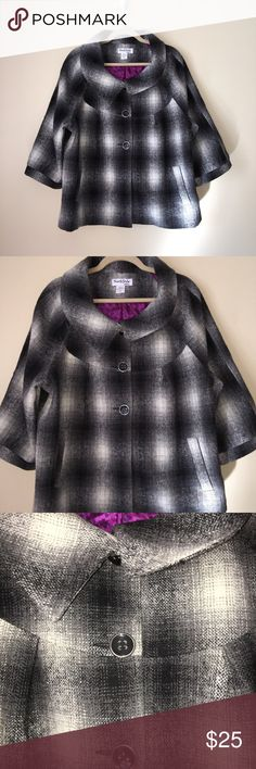 North Style 3/4 Sleeve Pea Coat XL Gray, Black and White. Excellent condition! North Style Jackets & Coats Pea Coats