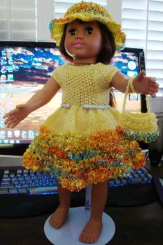 American Girl Knitting Patterns  Created by Elaine Baker - Ladyfingers  February, 2013    BASIC EASTER DRESS with VARIATIONS