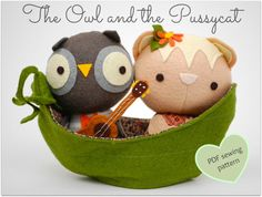 The Owl and the Pussycat Play Set  Easy PDF Sewing by whileshenaps, $9.00